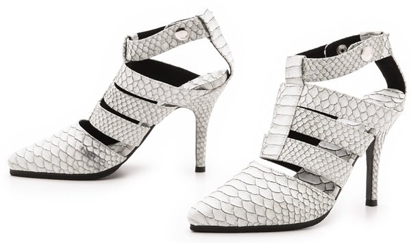 Shakuhachi Python-Embossed Strappy Heels
