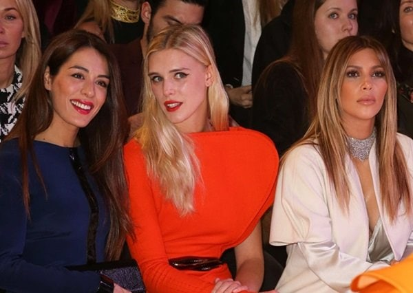 Sofia Essaidi, Gaia Weiss, and Kim Kardashian sitting next to each other at the Stephane Rolland show during Paris Fashion Week in France on January 21, 2014