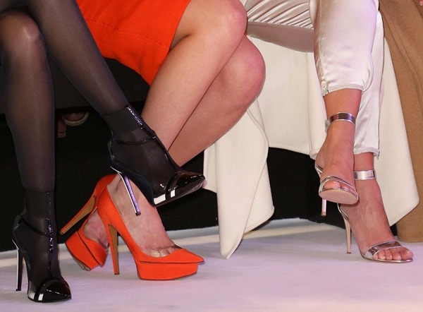 Sofia Essaidi, Gaia Weiss, and Kim Kardashian showing off their shoes