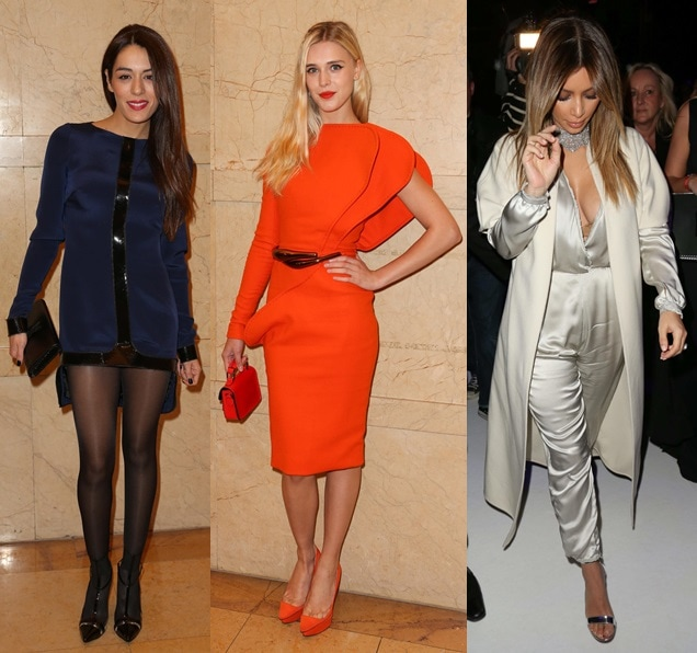 While Kim Kardashian sported her favorite ankle-strap sandals from Gianvito Rossi, the other two wore pumps — Sofia was in the same pair of t-straps worn by Paz Vega (at the Chanel show), while Gaia slipped into some poppy clear-paneled pointy platforms that looked like they were from Charlotte Olympia.