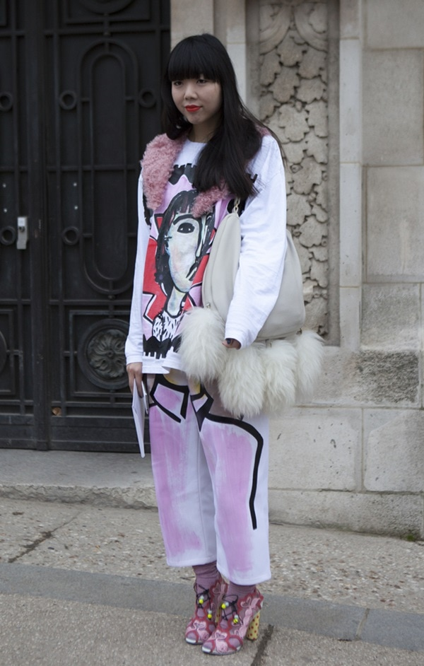 Susie Bubble sported a rather uniquely printed outfit that was truly her own