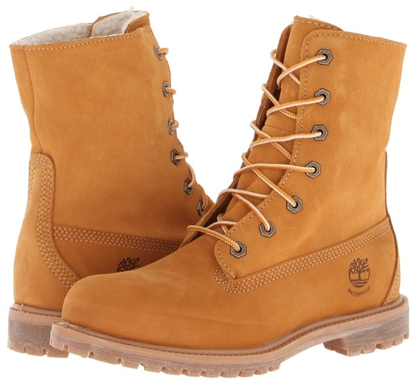 timberland authentics teddy fleece fold down wheat boots