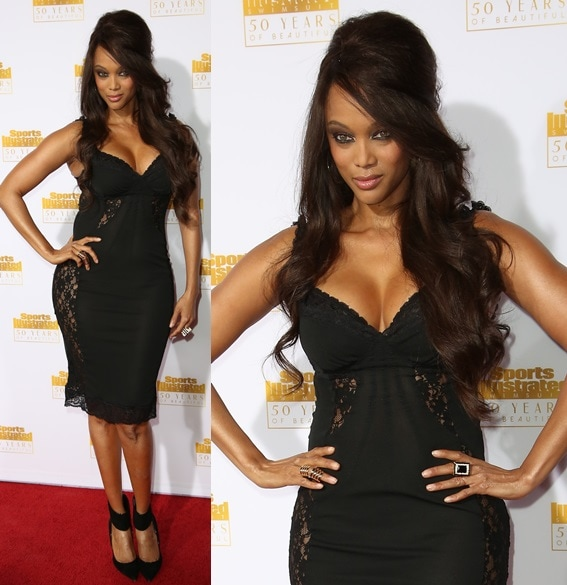 Tyra Banks channeling sexy and sensual in a lace dress, big bouncy hair, and a pair of ankle cuff pumps at the 50th anniversary celebration of Sports Illustrated at Dolby Theatre in Beverly Hills on January 14, 2014
