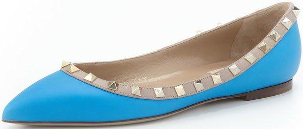 """Valentino """"Rockstud"""" Ballerina Flats in Blue"""