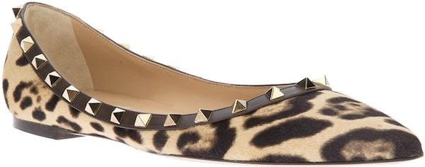 "Valentino ""Rockstud"" Ballerina Flats in Leopard Print"