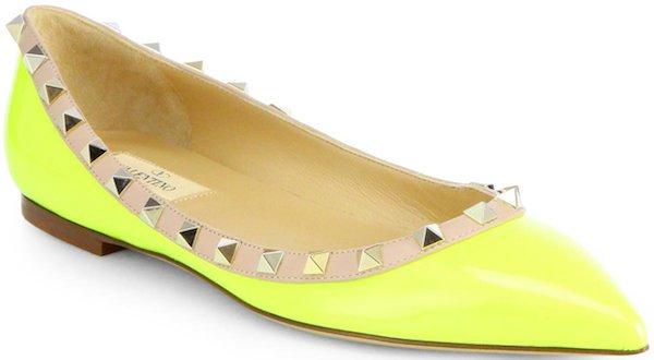 "Valentino ""Rockstud"" Ballerina Flats in Neon Yellow"