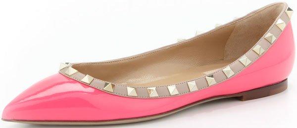 """Valentino """"Rockstud"""" Ballerina Flats in Pink"""