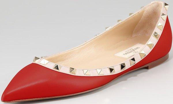 """Valentino """"Rockstud"""" Ballerina Flats in Red"""
