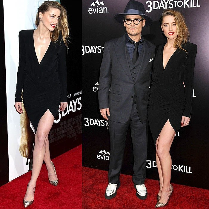 Amber Heard and Johnny Depp at the 3 Days to Kill premiere at the ArcLight Cinemas in Hollywood, California, on February 12, 2014