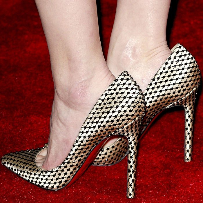 "Amber Heard's Christian Louboutin ""Pigalle"" pumps with crystal lattice covering the satin uppers"