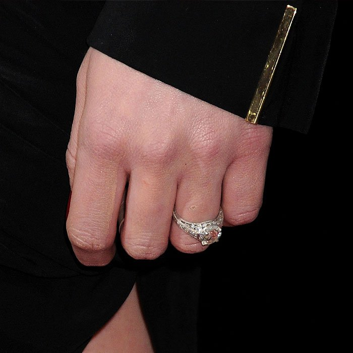 A closeup shot of Amber Heard's engagement ring