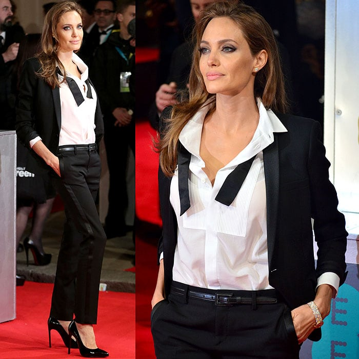 Angelina Jolie tuxedo BAFTAs 1
