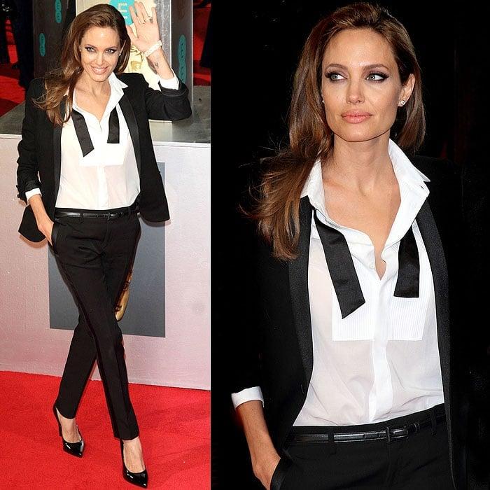 Angelina Jolie tuxedo BAFTAs