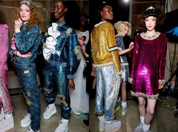 Backstage at Ashish's Fall 2014 show in London, England, on February 17, 2014