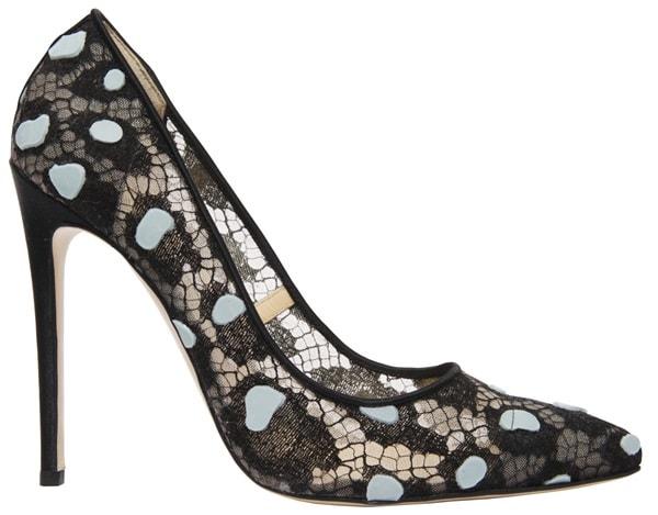 "Bionda Castana ""Daphne Bis"" Pumps in Black Lace Leopard Print"