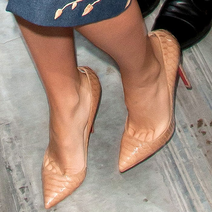 """Christian Louboutin """"So Kate"""" pumps in nude python on Blake Lively"""
