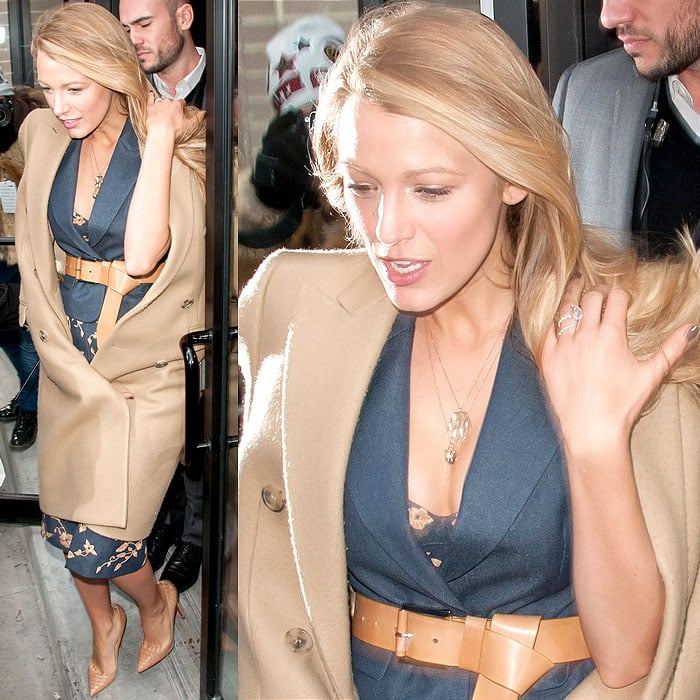 Blake Lively was dressed head-to-toe in Michael Kors to attend the Michael Kors Fall 2014 fashion presentation