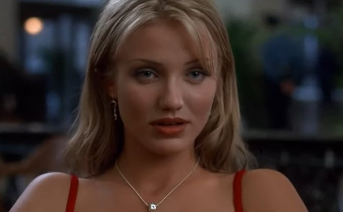 Cameron Diaz as Dorian Tyrell's (Peter Greene) glamorous and beautiful girlfriend Tina Carlyle in The Mask