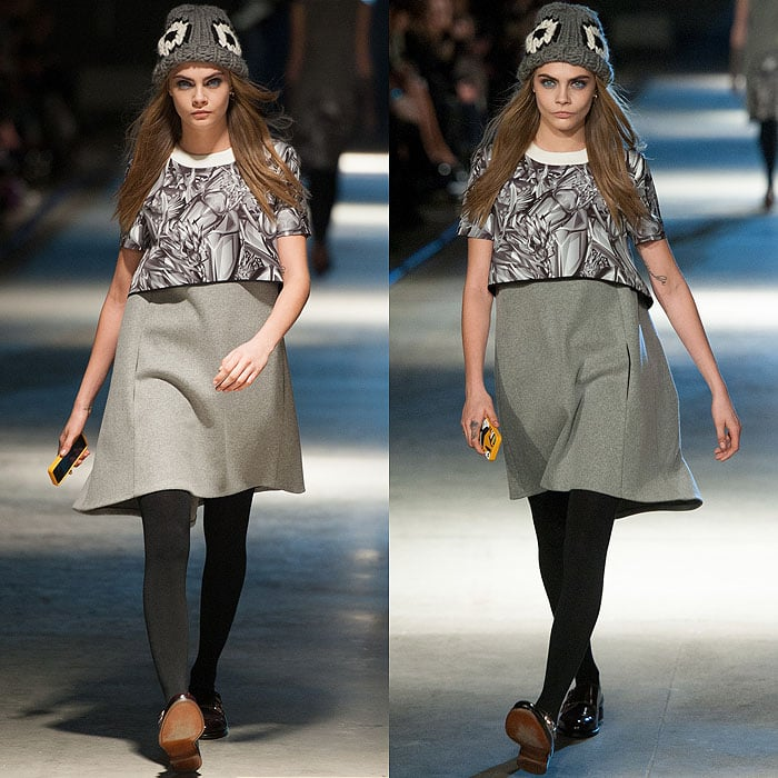 Cara Delevingne on the catwalk of theGiles Fall 2014 fashion show