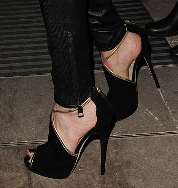 Cat Deeley's feet in Jimmy Choo Farley peep-toe sandals