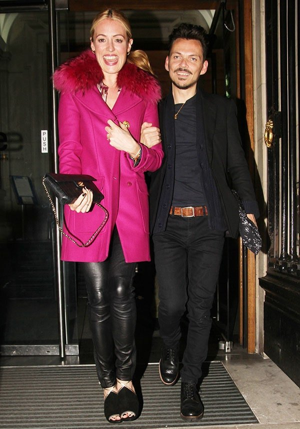Cat Deeley leaves the venue with designer Matthew Williamson following his London Fashion Week runway show