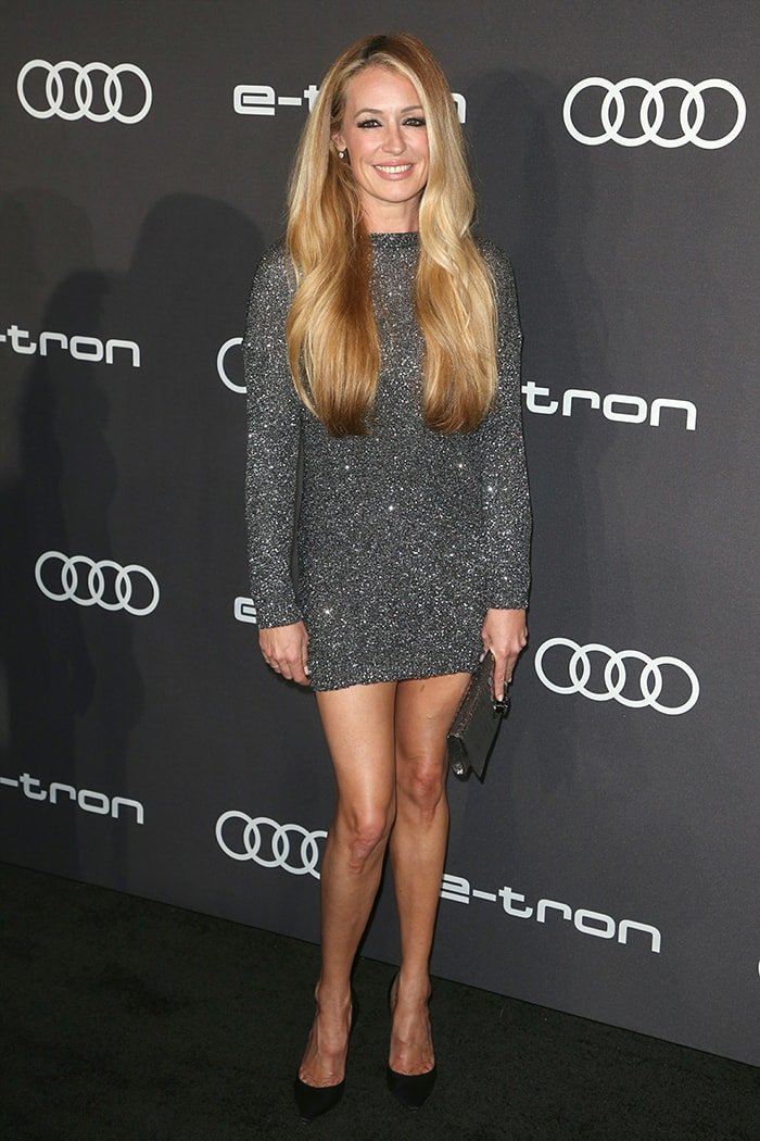 Cat Deeley highlights her tall frame in glittery mini dress and black pumps at Audi's pre-Emmy celebration on September 19, 2019
