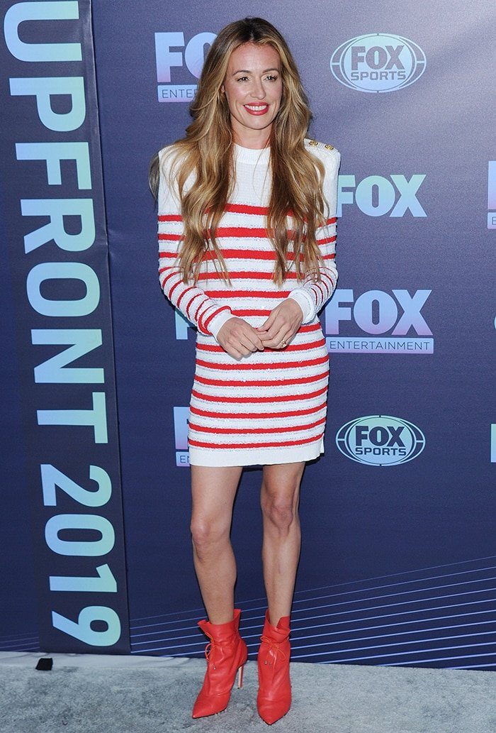 Cat Deeley in Balmain dress and Jimmy Choo boots at the 2019 Fox Upfront in New York City on May 13, 2019