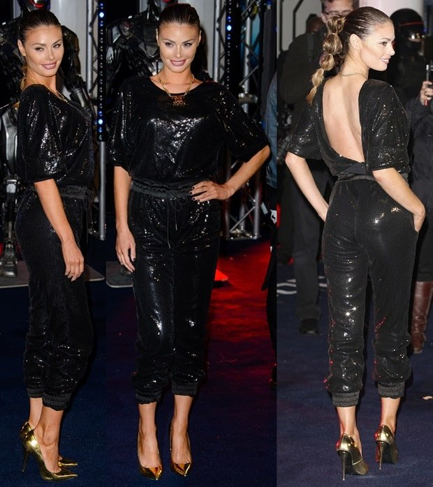 Chloe Sims wore a backless sequin bodysuit at the premiere of RoboCop held at the BFI Imax in London, England, on February 5, 2014