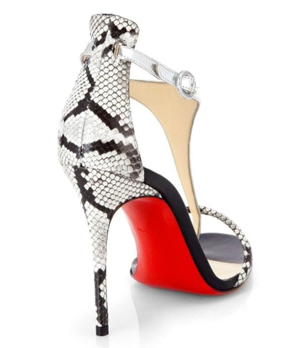 Christian Louboutin Athena Python T-Strap Sandals1