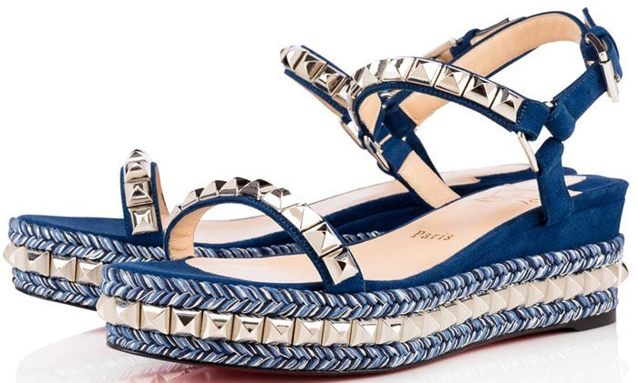 Christian Louboutin Cataclou 60 embellished suede and leather wedge sandals blue