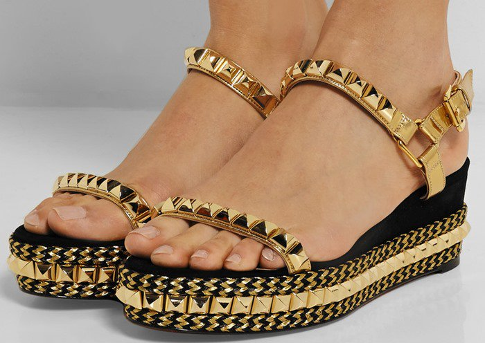 Christian Louboutin Cataclou 60 embellished suede and leather wedge sandals model