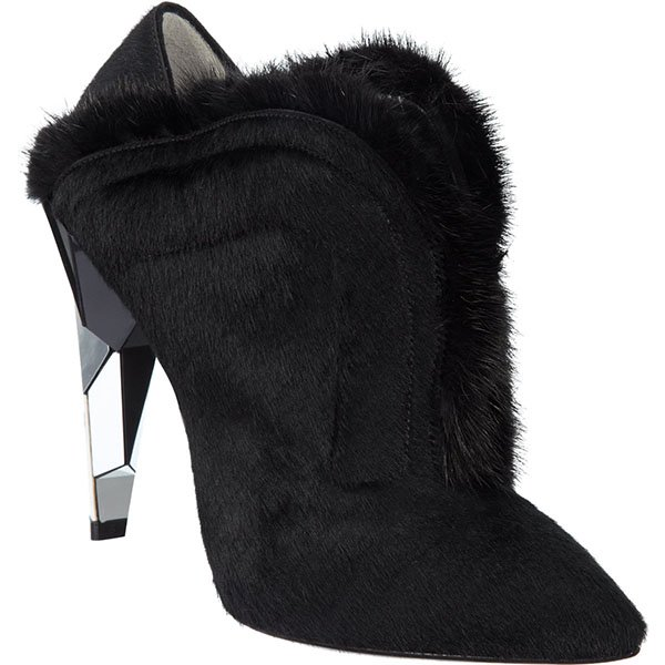 Fendi Fur-Trimmed Calf-Hair Shoe Boots in Black