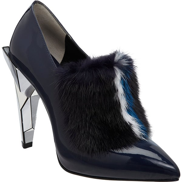 Fendi Fur-Trimmed Ankle Boots Dark Blue