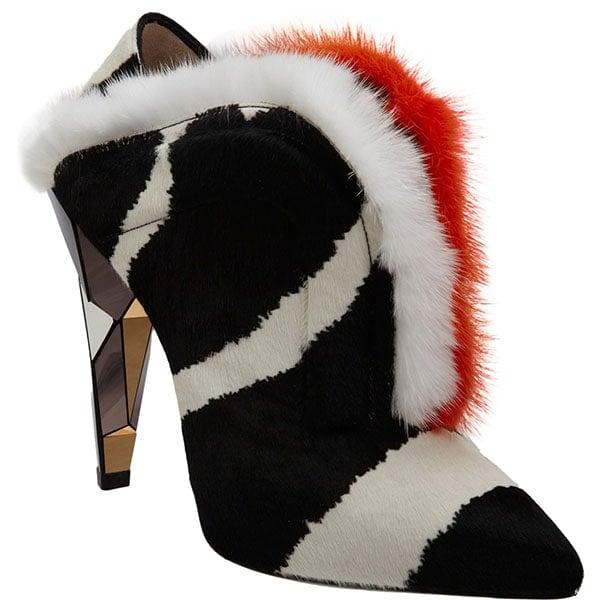 Fendi Fur-Trimmed Calf-Hair Shoe Boots in Black/White/Orange