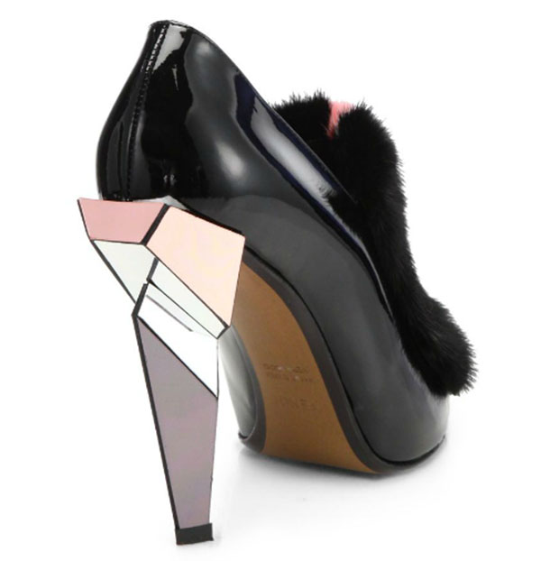Fendi Fur-Trimmed Patent Leather Ankle Boots in Black/Pink/White