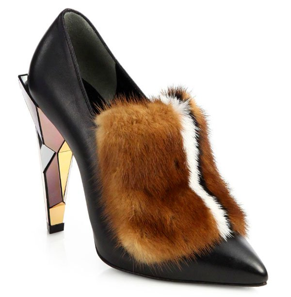 Fendi Leather Fur-Trimmed Pumps Black Multi