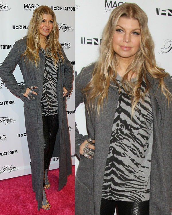 Fergie wears a long gray cardigan and a Saint Laurent shirt for her Las Vegas appearance