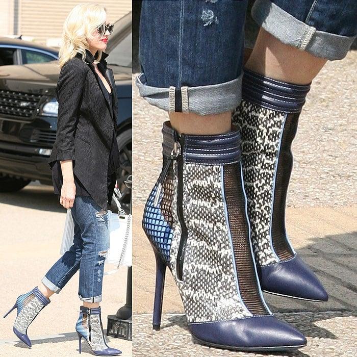 Gwen Stefani wearing blue mesh booties