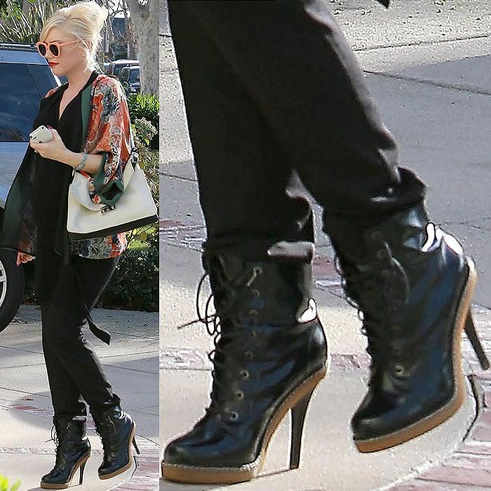 Gwen Stefani wearing high heel Doc Martens