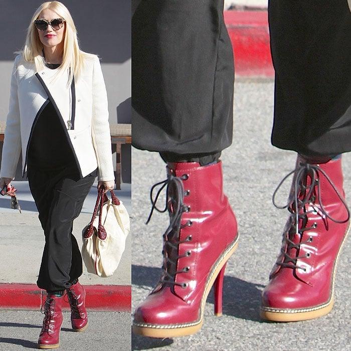 Gwen Stefani wearing red high heel Doc Martens