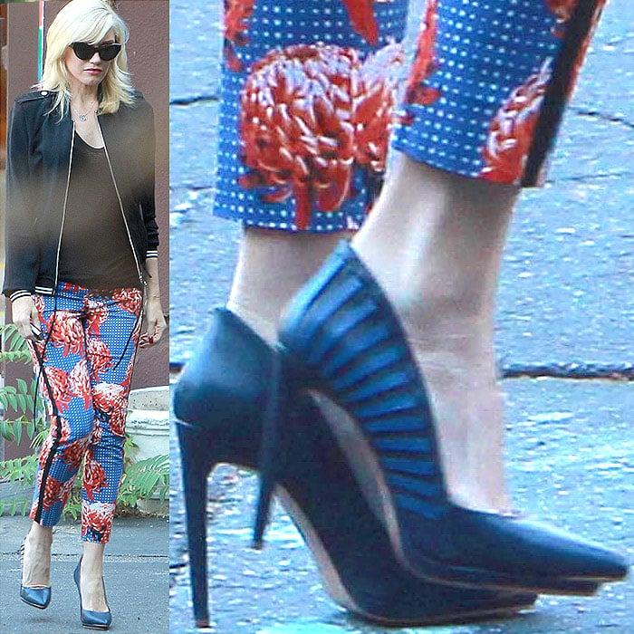 Gwen Stefani wearing striped blue pumps