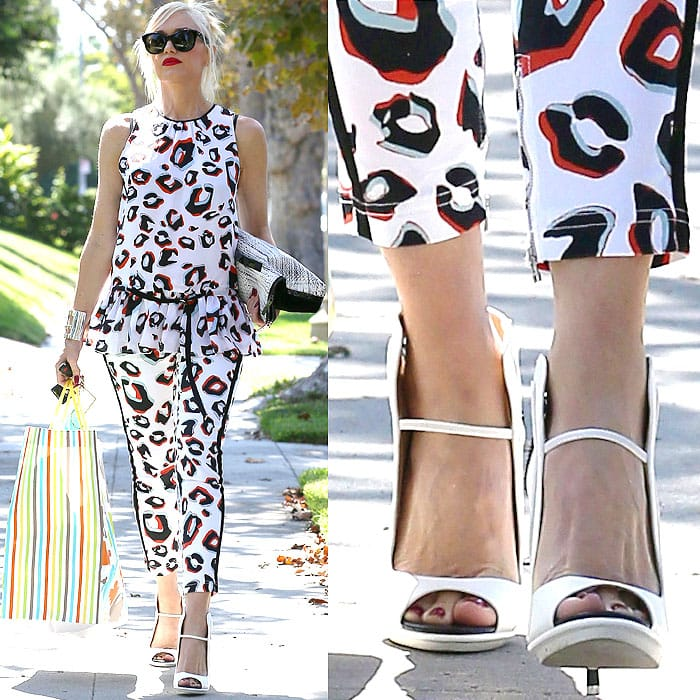 Gwen Stefani wearing white pumps leopard print outfit