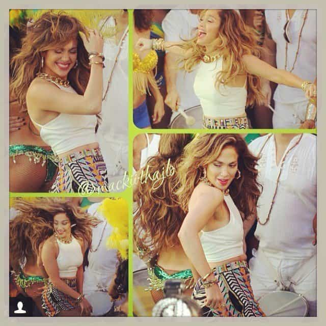 "Jennifer Lopez at the shoot for the ""We Are One (Ola Ola)"" music video at Fort Lauderdale, Florida, in snaps she shared on Instagram on February 12, 2014"