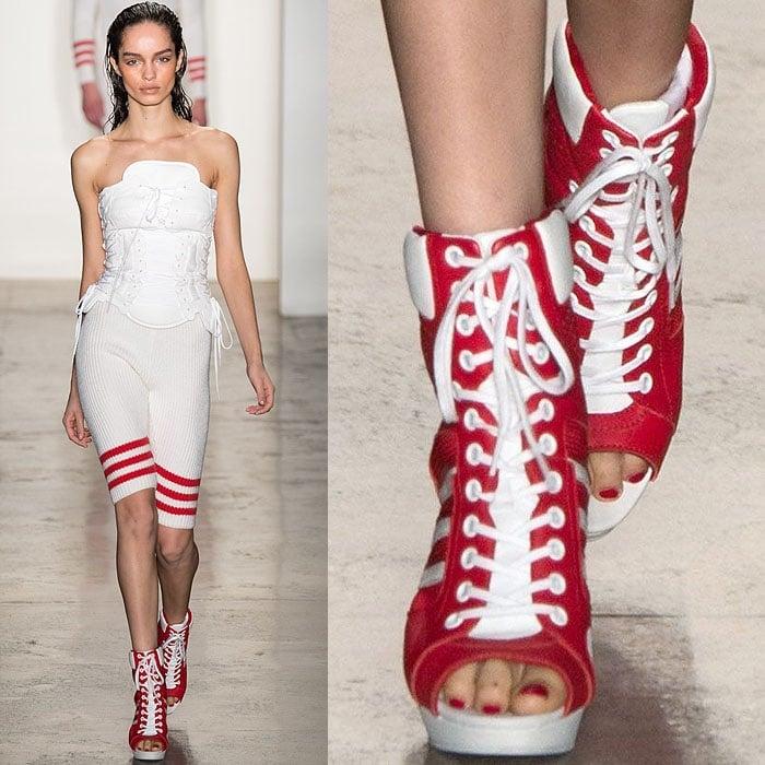 Jeremy Scott Fall 2014 thigh high sneaker boots