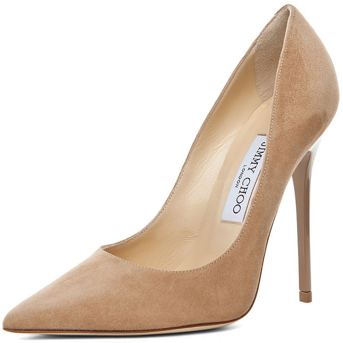 """Jimmy Choo """"Anouk"""" Suede Pumps in Nude"""