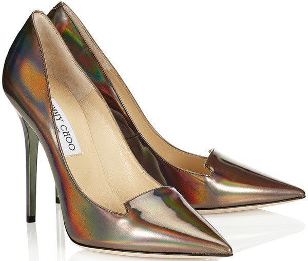 Jimmy Choo Ari Disco Mirror Leather Pointy Toe Pumps