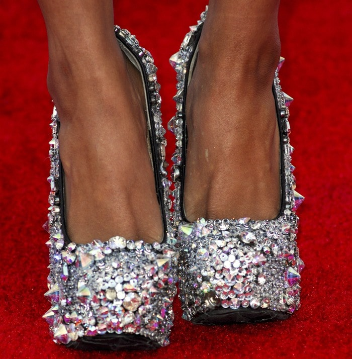 Kat Graham shows off her feet in Gasoline Glamour shoes