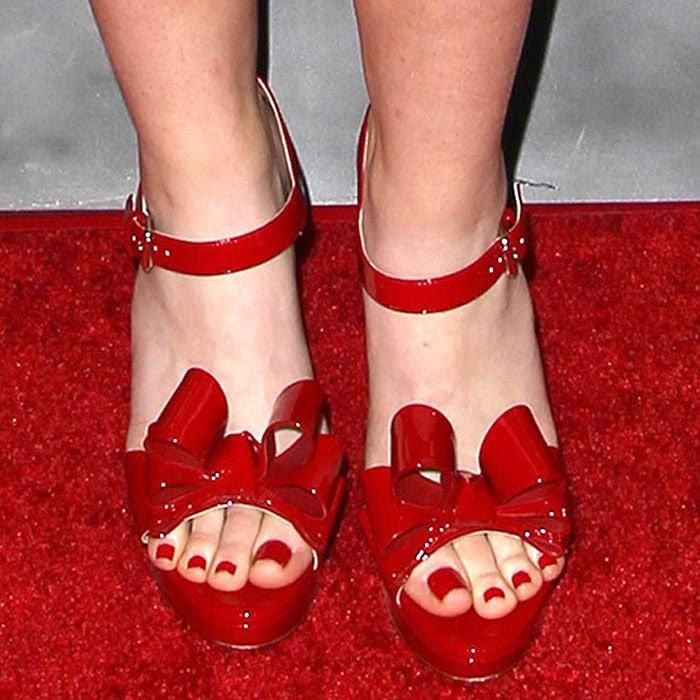 Kathryn Newton's Valentino patent bow platform sandals