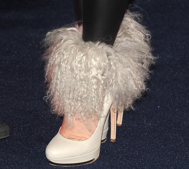 Katie Price rockswhite fur pumps from Alexander McQueen