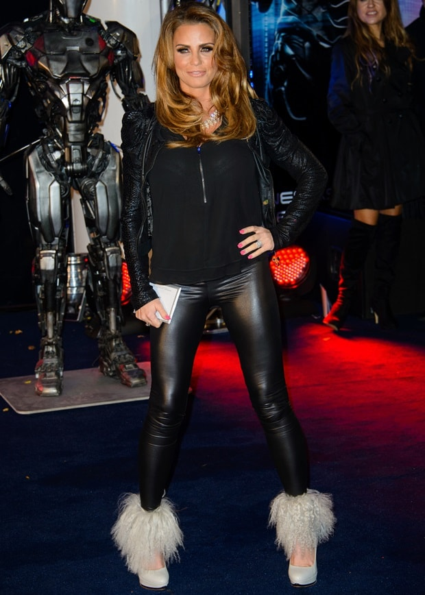 Katie Price ina black faux snakeskin jacket at the premiere of RoboCop
